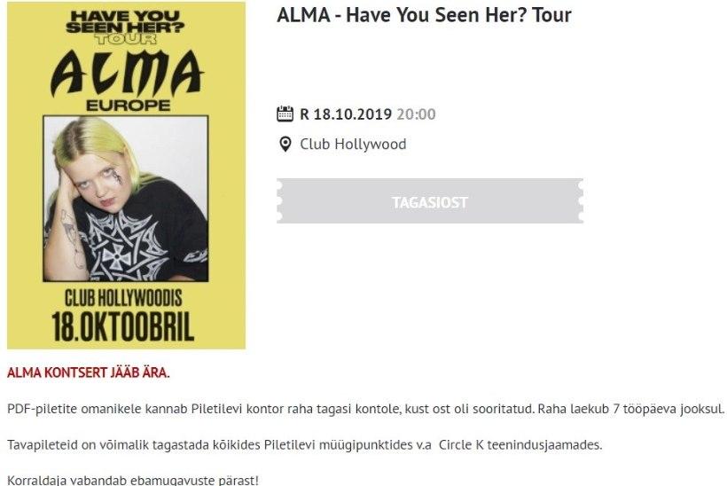 Oi ei! Oktoobrisse lükatud Alma kontsert jääb sootuks ära