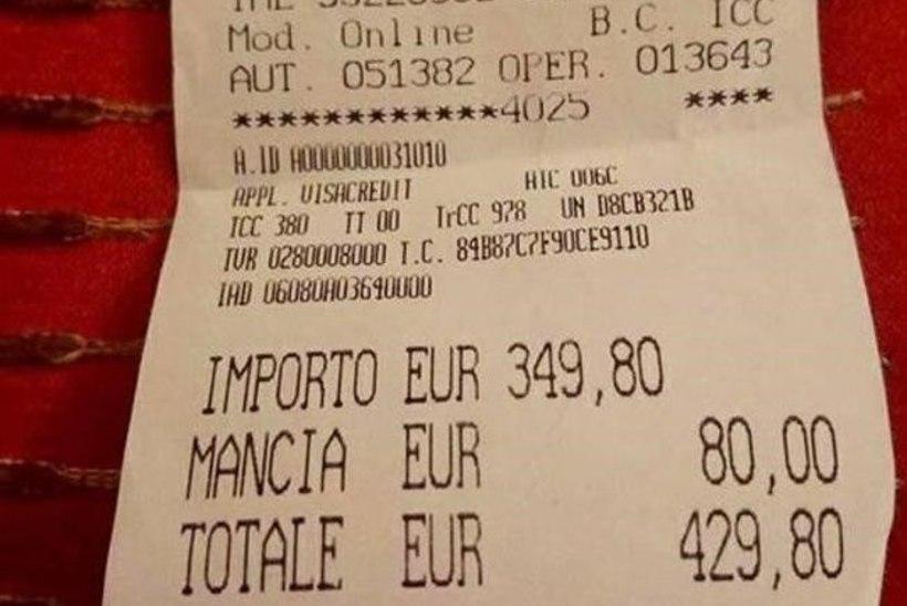 USKUMATU: Roomas kasseeriti jaapanlannadelt kahe taldriku spagettide eest 430 eurot