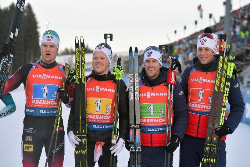Tugevalt alustanud Eesti laskesuusanelik jäi lõpuks esikümnest välja, võit läks Norrasse