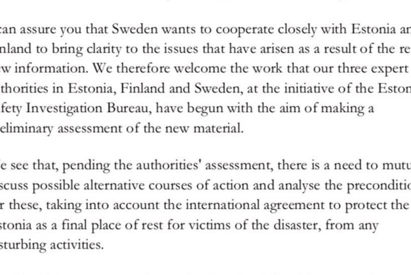 Loe Eesti ja Rootsi ministrite kirjavahetust Estonia vraki teemal