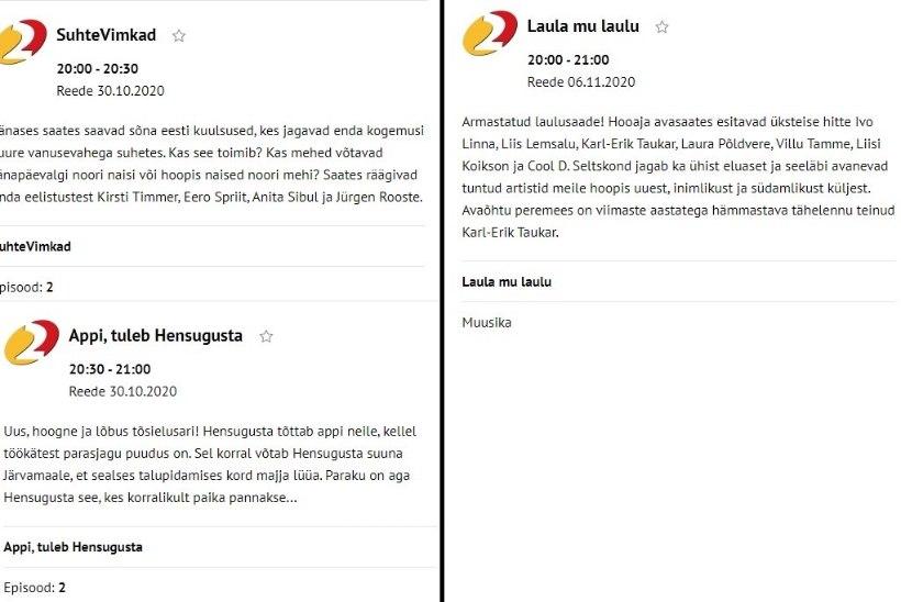 Hensugusta ja Lellepi-Vaheri värsked saated on telekavast kadunud! Kaspar Kaljas: episoodid liiguvad uuele ajale