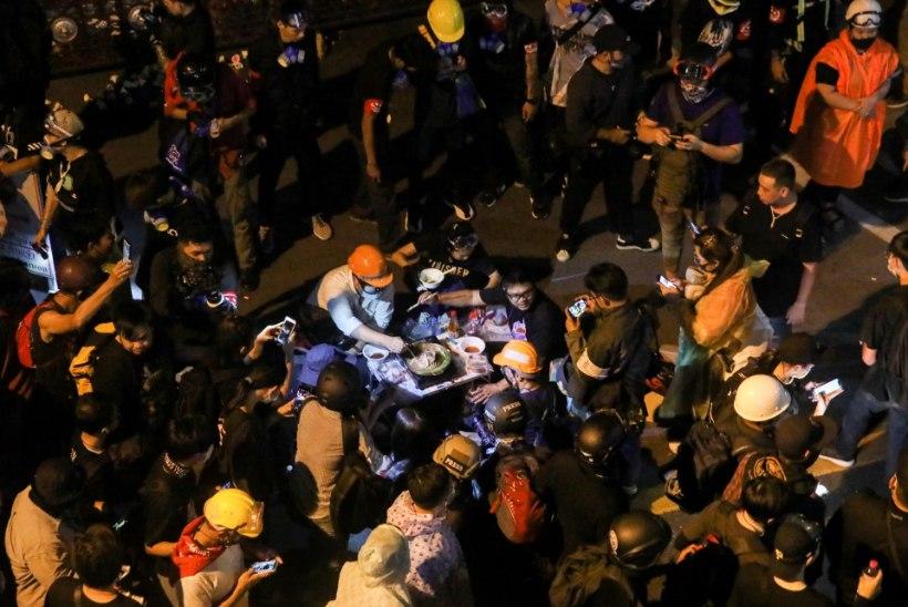 OMAMOODI PROTEST: Tai meeleavaldaja grillis politseijaokonna ees sealiha