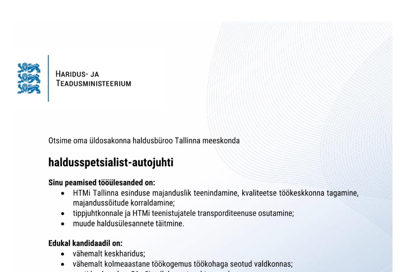 KAKS ON PAREM KUI ÜKS: haridusminister Repsile otsitakse asendusautojuhti
