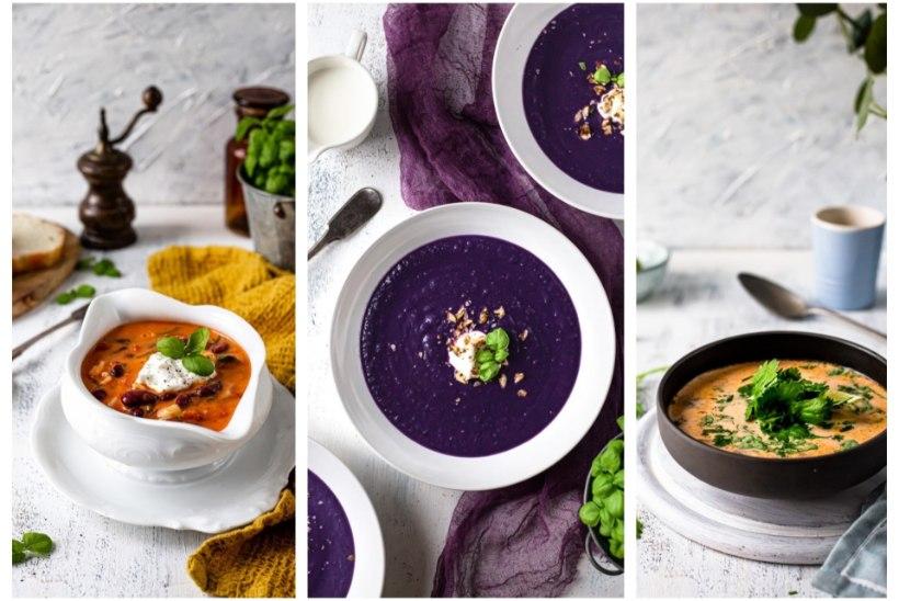 LIHATA VÄRVIKAD LEEMED: tummine tomati-oasupp, kelmikas punase kapsa supp ja lõunamaine seene-kookospiimasupp