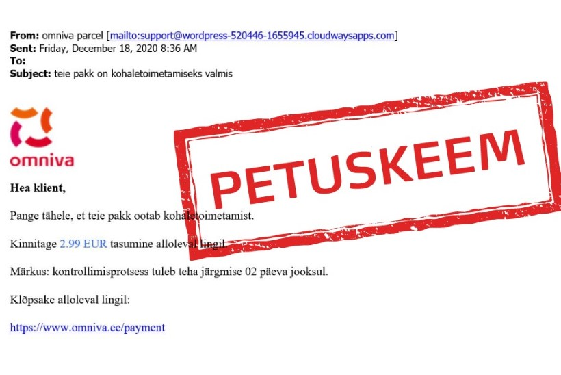 Ole ettevaatlik! Omniva hoiatab kelmide eest, kes üritavad lunatasu nõudva e-kirjaga raha välja petta