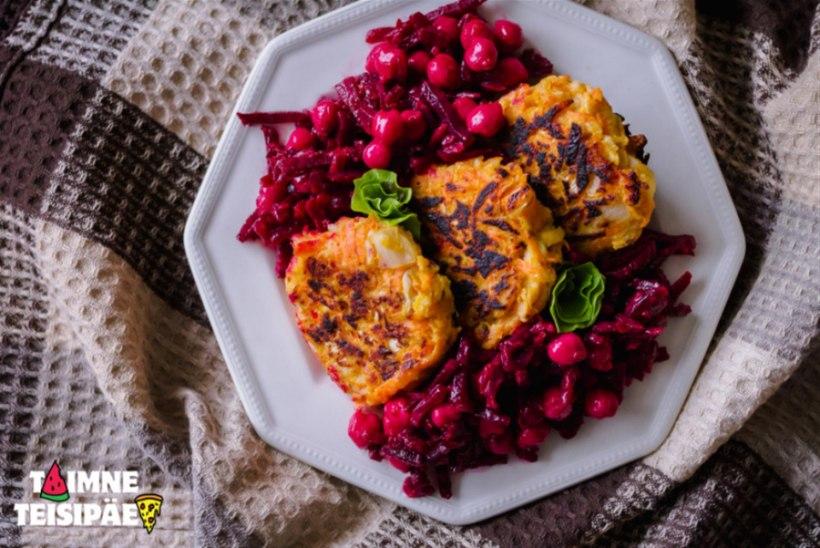 Kapsa-porgandi kotletid küüslauguse peedi-kikerherne salatiga