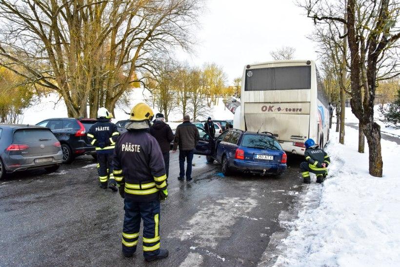 FOTOD ja VIDEO | Viljandis sõitis auto bussi alla kinni