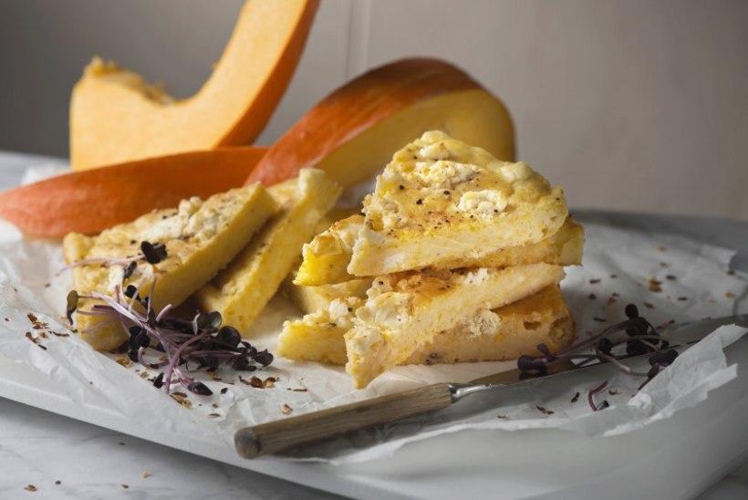 Põhjata kõrvitsa-juustu plaadipirukas