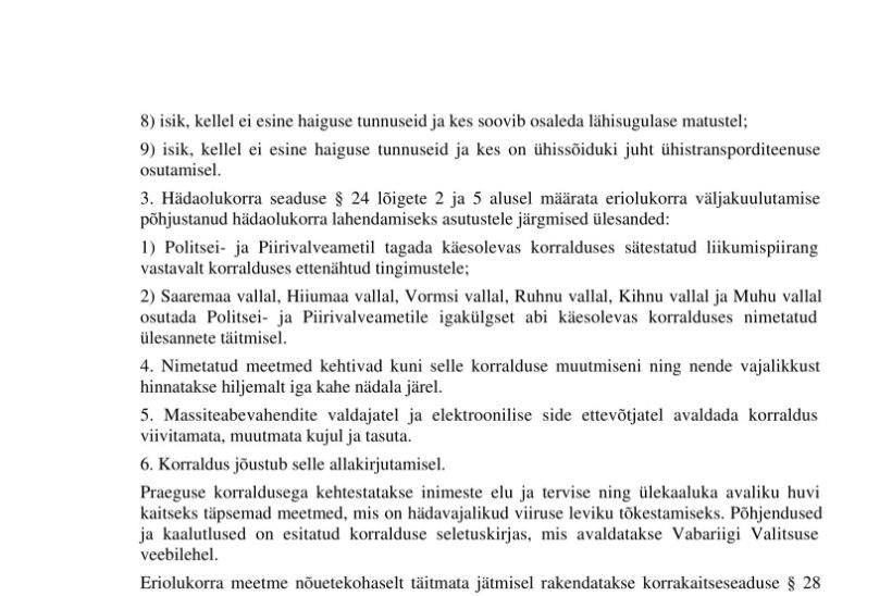 VALITSUSE KORRALDUS | Suletakse ligipääs saartele