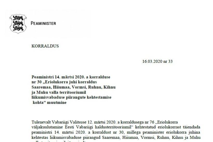 VALITSUSE KORRALDUS | Muhu ja Saaremaa vahel võib liikuda, karantiini lisati Manija