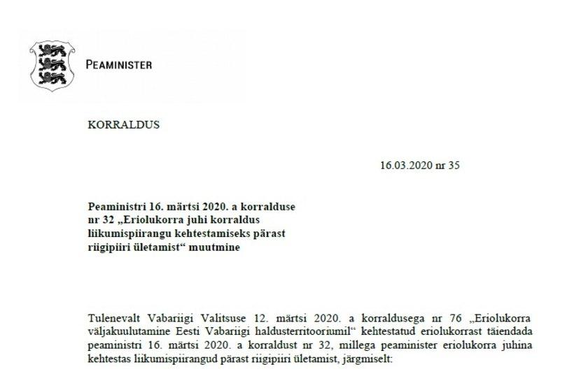 VALITSUSE KORRALDUS | Eestisse siseneja pannakse 14 päevaks karantiini, erandiks Valga-Valka inimesed