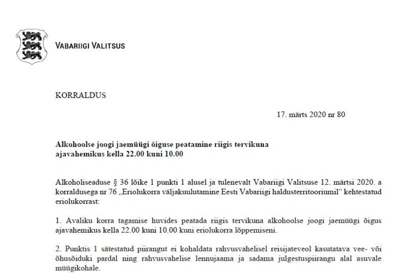VALITSUSE KORRALDUS | Alkoholimüük keelustatakse kümnest õhtul kümneni hommikul kõikjal Eestis