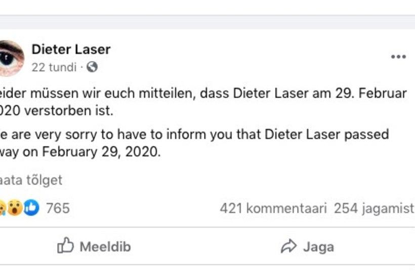 """Suri Rainer Sarneti """"Novembris"""" mõisahärrat mänginud Dieter Laser"""