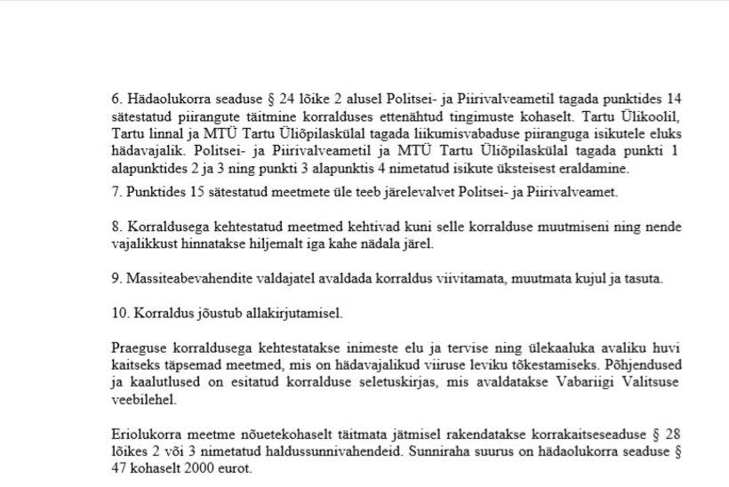 VALITSUSE KORRALDUS   Eriolukorra juht sulgeb Tartus COVID-19 nakkuspuhanguga ühiselamu