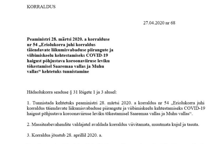 VALITSUSE ERITEADE: Saaremaal ja Muhumaal leevenevad eriolukorra piirangud