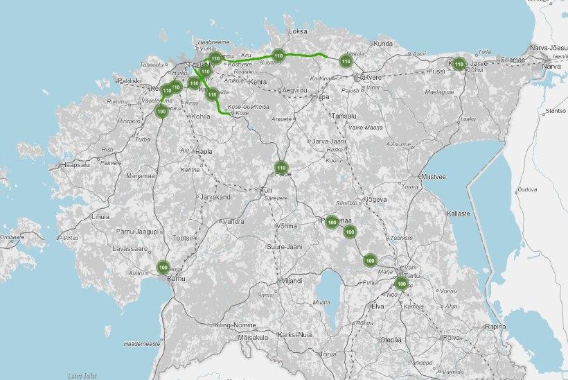 Esmaspäevast saab suurematel maanteedel sõita 110 km/h