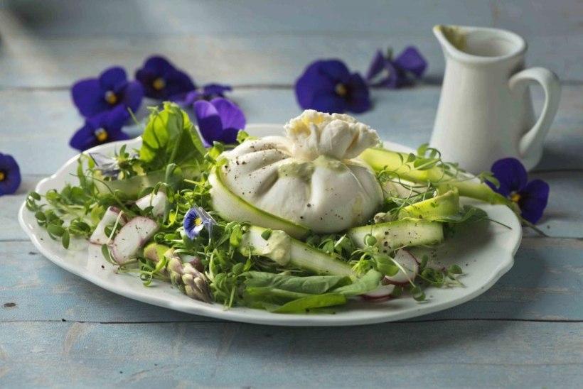 KEVADISESSE KUUMALAINESSE: värske salat spargli, burrata juustu ja hernekastmega