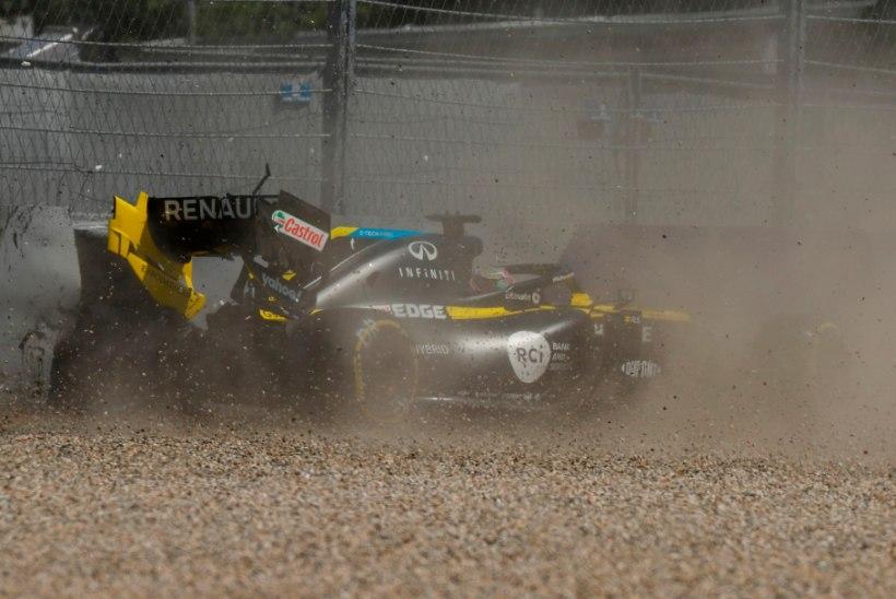 VIDEO   Teisel vabatreeningul oli kiireim Red Bulli piloot, Ricciardo tegi hirmsa avarii