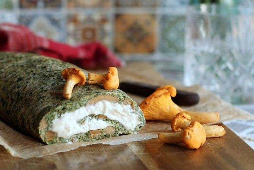 Rullbiskviidi roheline vend: kukeseene-spinati omletirull