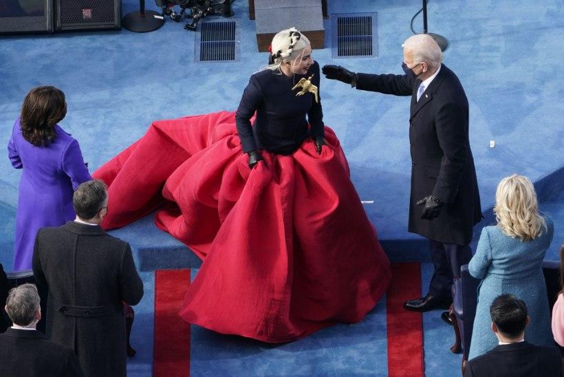 FOTOD   Presidenditseremoonia mood: Lady Gaga kleididraama ja kõikehõlmav lilla
