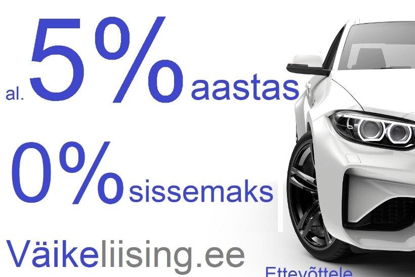 Väikeliising sõidukile alates 5% aastas ja kuni 15 000 eurot