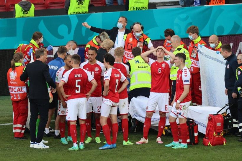 Jalgpalli EMi blogi | Taani tähte elustati ja ta on haiglas stabiilses seisundis, pausi järel jätkunud matšis võttis Soome ajaloolise võidu