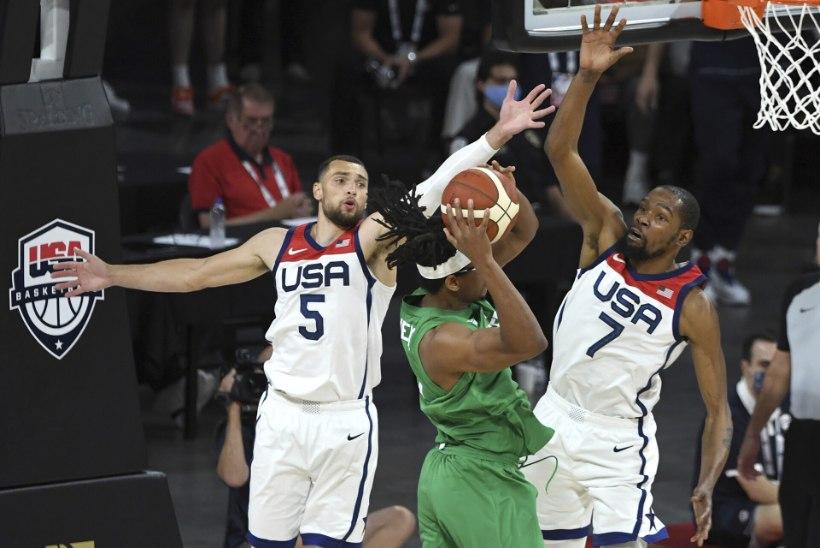 VIDEO | NBA tähtedega USA korvpallikoondis teenis olümpia eel ootamatu kaotuse