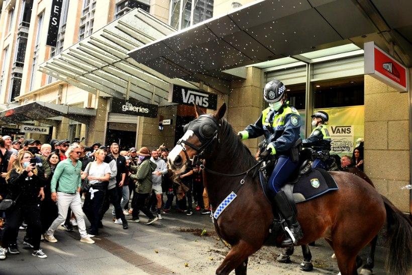 VIDEO | Austraalia koroonapiirangute vastastel meeleavaldustel löödi politseihobust, piirangud võivad hoopis pikeneda