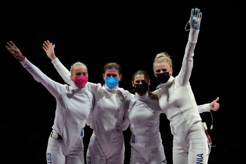 GALERII   Vaata, kuidas rõõmustasid olümpial finaali pääsenud Eesti naisvehklejad