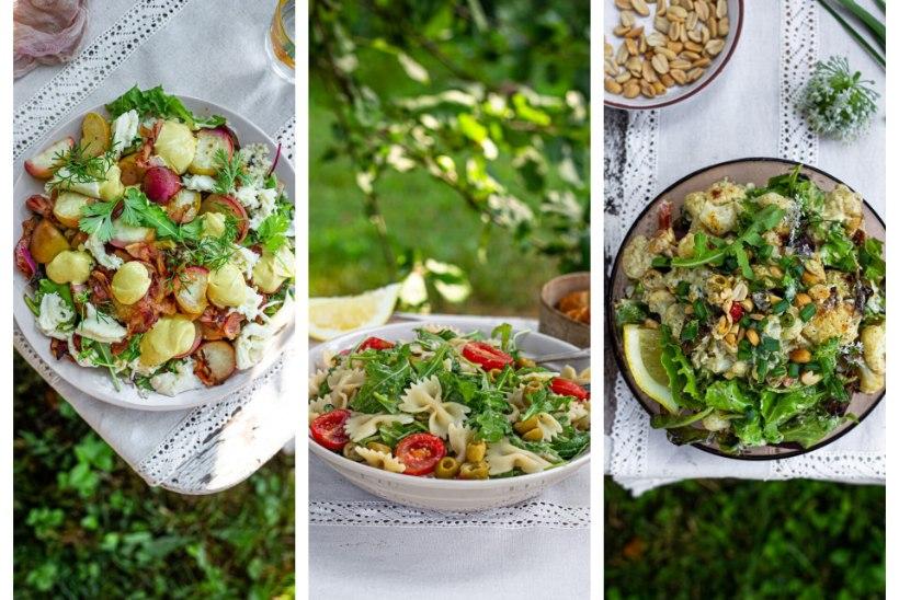 LIHTSAD TOITVAD SUVESALATID   Pasta-hummusesalat, eriline lillkapsasalat ja bulgurisalat peekoni ja virsikutega