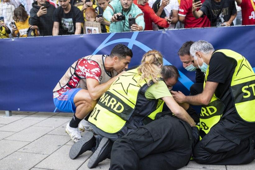 FOTOD | Ronaldo lõi turvanaise auti, aga läks aumehena teda kontrollima