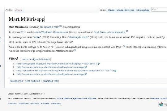 PILTUUDIS: Mart Müürisepast on Vikipeedias juba näosaate võitja tehtud!