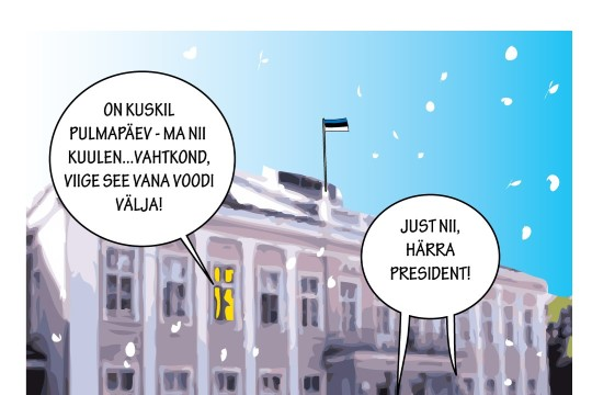 Karikatuur   President valmistub Ieva tulekuks