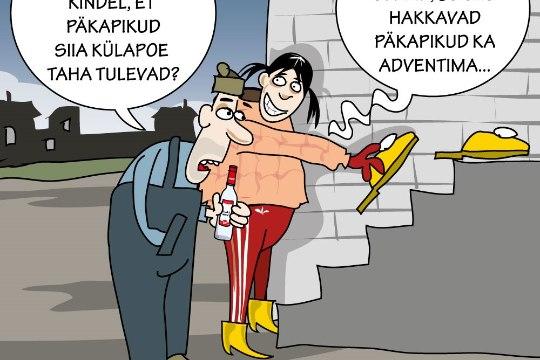 Karikatuur   Päkapikud külapoe taga
