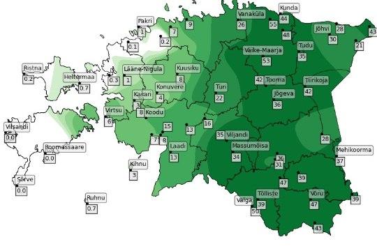 MEELETU VIHMAVALING: pühapäevased vihmavalingud lähenesid rekorditele