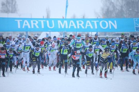 GALERII | Ideaalses talveilmas sõidetud 45. Tartu Maratoni võit läks Prantsusmaale