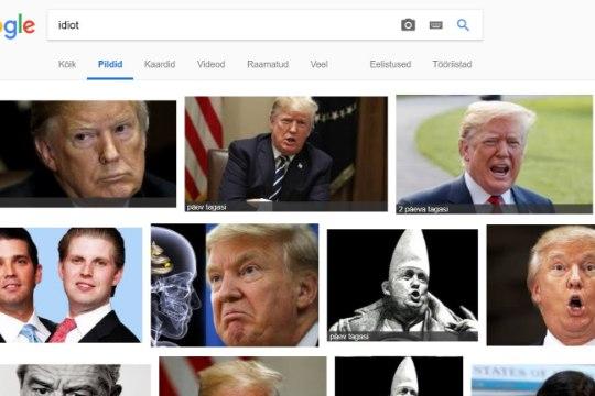 Google'i otsingumootor pakub sõnale idioot esimeseks vasteks Donald Trumpi