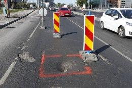GALERII | Tallinnas Järvevana teel oli pinnase vajumise tõttu liiklus tugevalt häiritud
