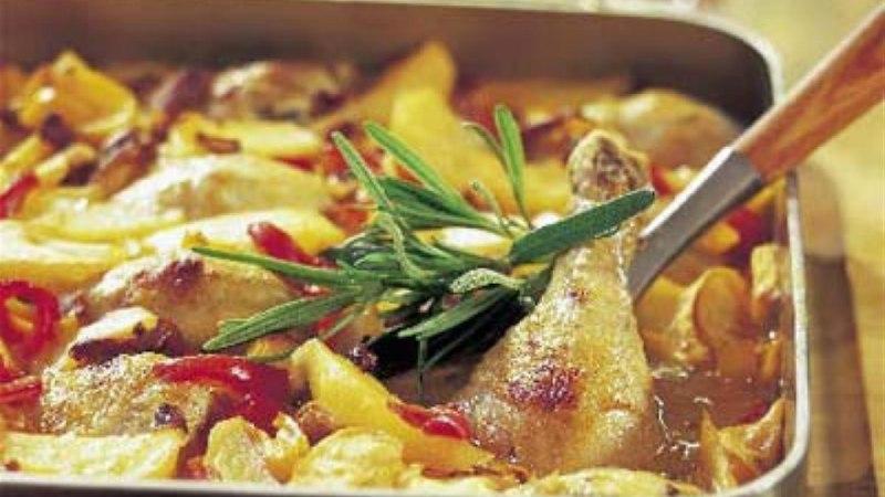Kana poolkoivad köögiviljaga