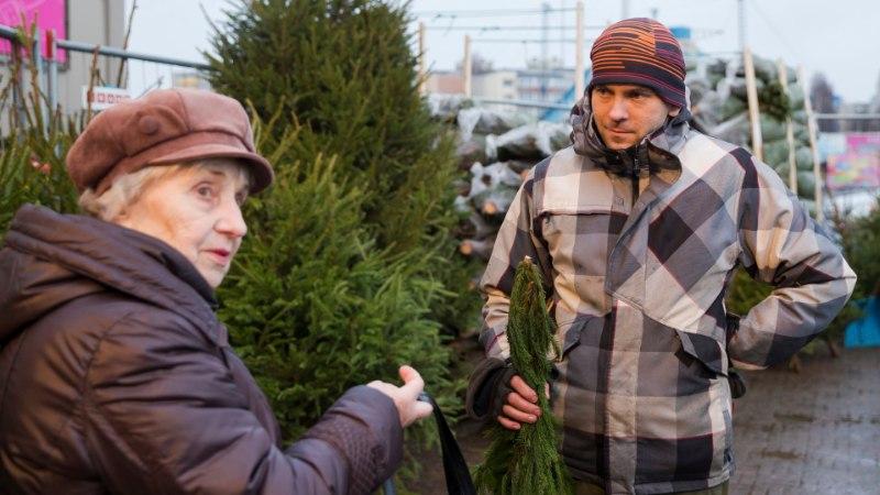 Meeleolud kuusemüügiplatsil – maa on must, aga jõulupuu läheb ikka kaubaks