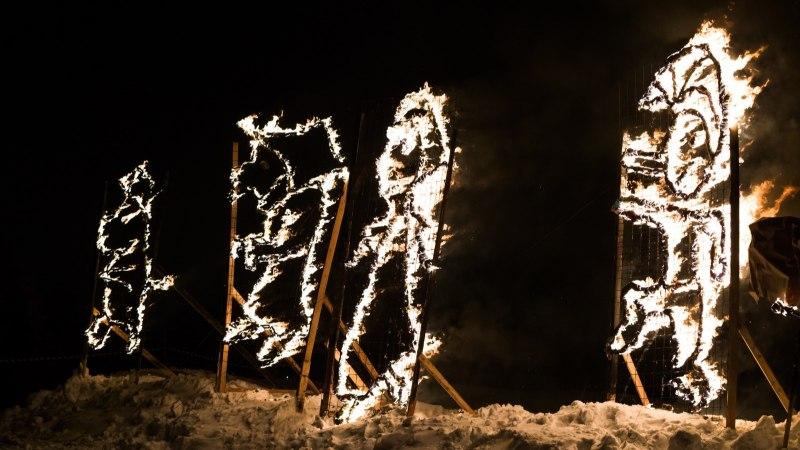 ÕHTULEHE VIDEO JA GALERII | Paeväljal põletati tuleskulptuure ja süüdati suur kuuselõke