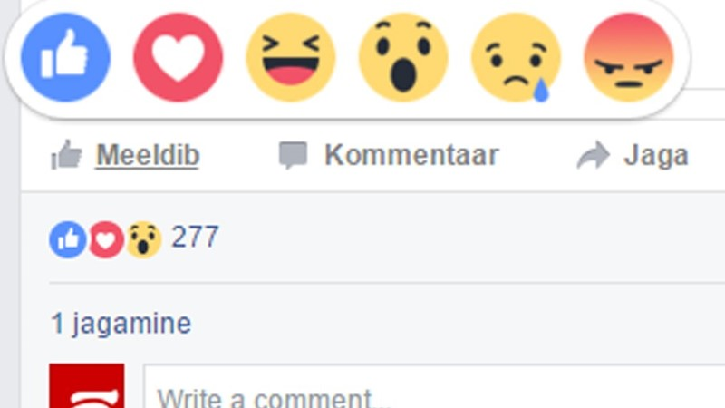 Facebook lõi like nupu kõrvale viis uut emotsiooni