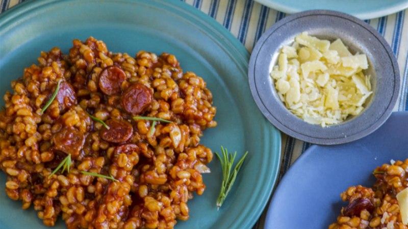 Orsotto chorizo ja tomatiga