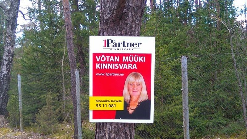 Otse puu külge löödud reklaamtahvel pahandab kohalikke elanikke