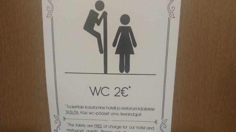 SOLVAV VÕI NALJAKAS? Sotsiaalmeedias tekitab elevust tualeti uksesilt, millel mehefiguur naist piilub