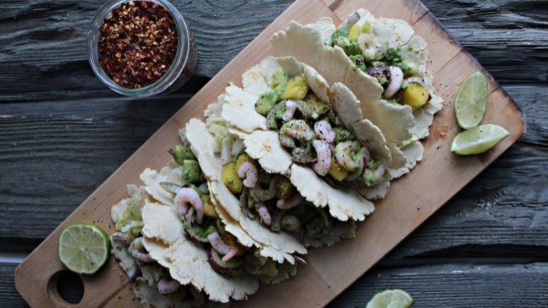 Avokaado-krevetisalsaga taco'd