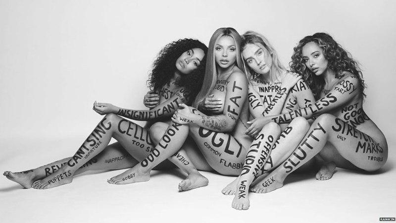 Tüdrukutebänd lasi oma paljale ihule maalida räiged solvangud