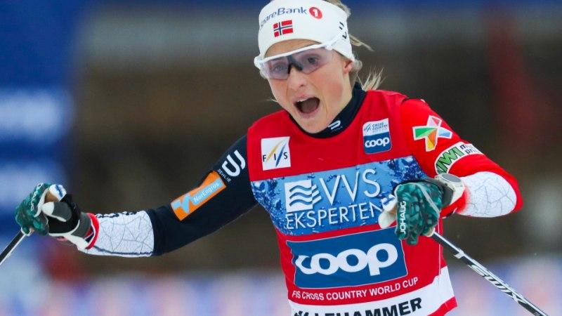 Johaug noppis juba hooaja kolmanda võidu, poodiumil ka teine norralanna