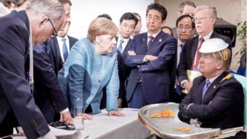 Range Merkeli ja jonnaka Trumpi foto inspireeris meemimeistreid