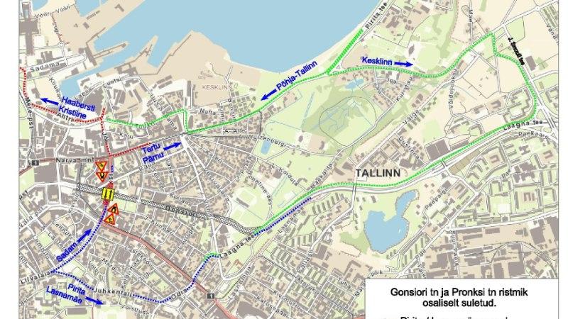 KAART   Teeremondi tõttu suletakse osaliselt Gonsiori ja Pronksi tänava ristmik